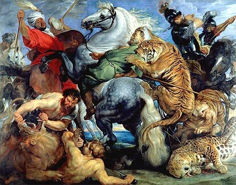 Tiger, Lion and Leopard Hunt - Peter Paul Rubens - Hand-Painted Art Reproduction
