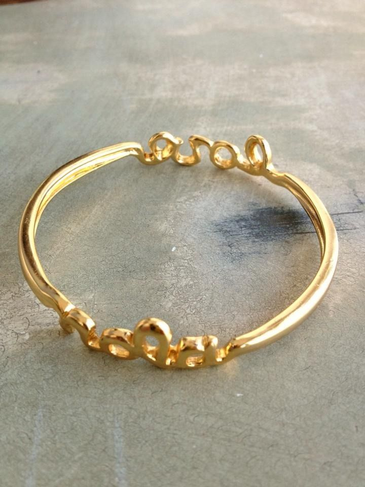 Fleurty Girl - Everything New Orleans - Nola Love Bangle, $25.99. Available in gold or silver.