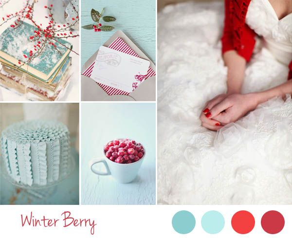 winter berry wedding inspiration board - red and aqua wedding