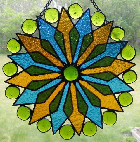 Stained Glass Suncatcher Amber & Blue by StainedGlassElegance, $50.00