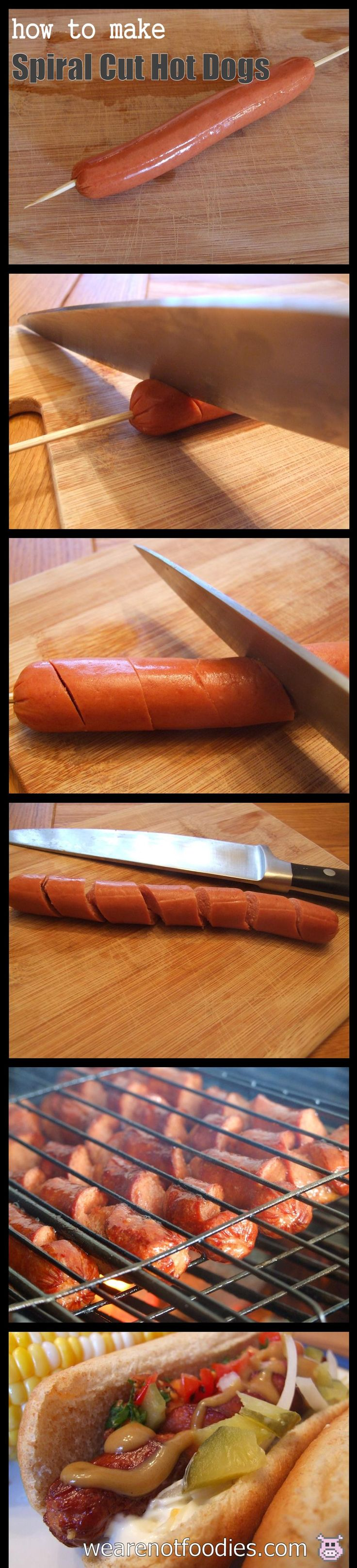 Step by Step Photo Guide for Making Spiral Cut Hot Dogs!
