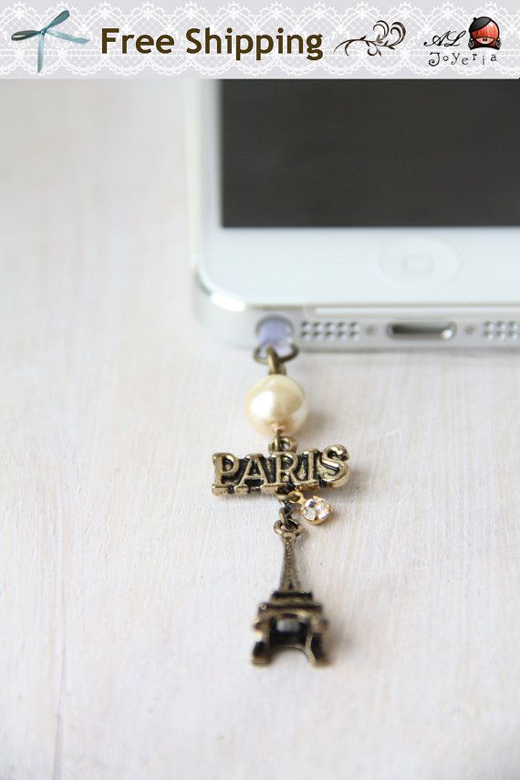 FREE Shipping-iPhone Earphone Plug. Paris Eiffel Tower iPhone Plug Earplug Charm. iPhone4, iPhone5, iPad Air, Samsung Accessories on Etsy, $8.95