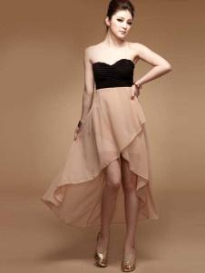 Sans bretelles Front court arrière longue robe de femme