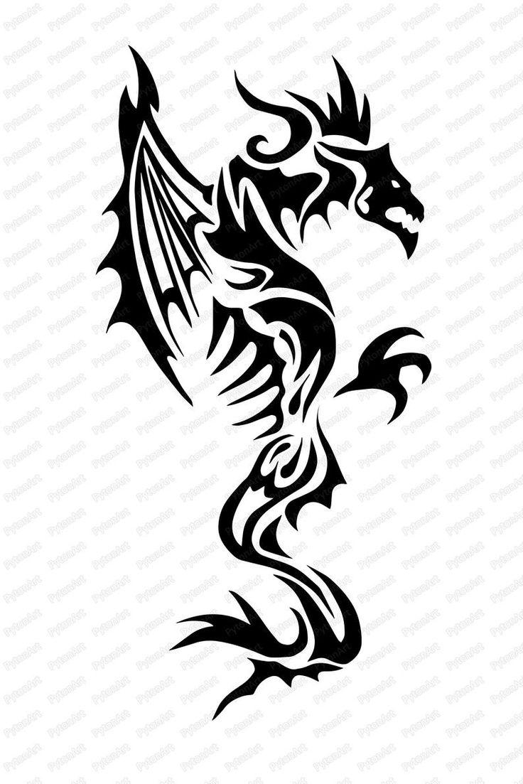 Dragon Print Svg, Black Dragon PNG, Digital Dragon