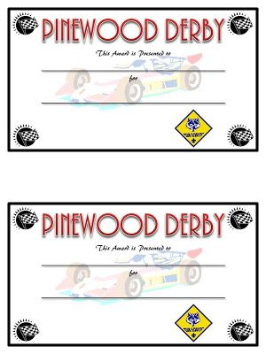 FREE printable certificates for the car race , cub scouts, Sugar Bee Crafts: DIY Pinewood Derby Trophies and Certificates