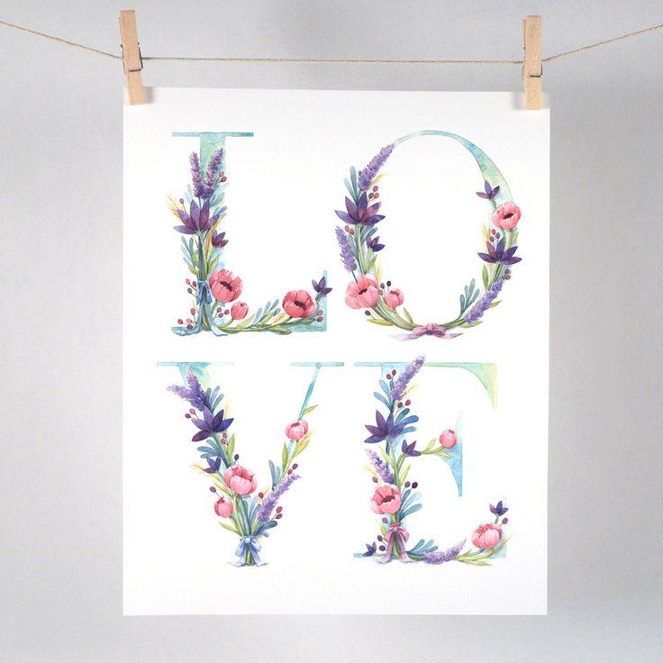Watercolor Floral Love Art Print