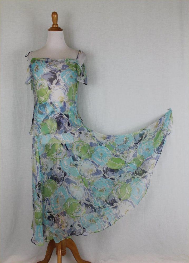 Nicole Farhi Long Blue Floral Silk Chiffon Bias Cut Dress 4pc Skirt Ensemble 8 M #NICOLEFARHI #coldshoulderBiascutrnAsymmetricalHemBeachDressDrapedFlapperLongSummer #Cocktail