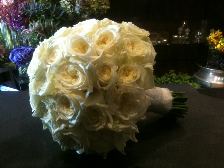 A beautiful dome of ivory Emmy Lou roses with lace bound stems. Flowers and styling by Victoria Whitelaw Beautiful Flowers.