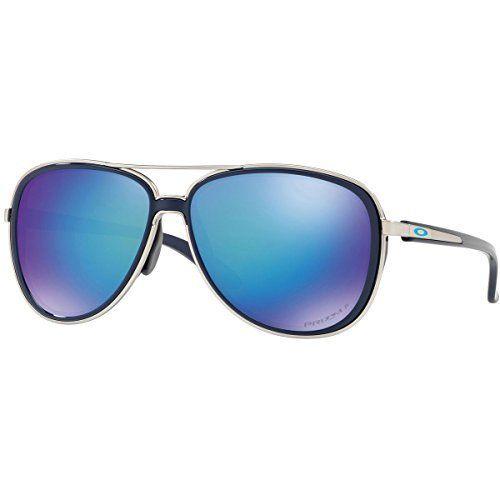 53f6c9ecb6 Oakley Women s Split Time Polarized Aviator Sunglasses Navy 58.2 mm ...