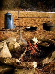 """Put this next to a fire pit, maybe ...    Campfire Cooker """"Grandpa Jakes""""  This is a heavy-duty campfire cooker, handcrafted on a mountain in North Idaho. Made to move up, and down at 360˚ degrees in any directions. For easy movement, serving, and temperature control. This wonderful Campfire Cooker"""