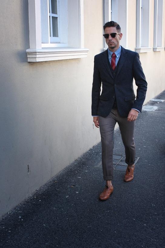 Tweed Blazer And Waistcoat Houndstooth Pants Tan Brogues