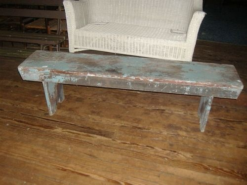 Primitive Urban Rustic Dutch Blue Distress Painted Bench