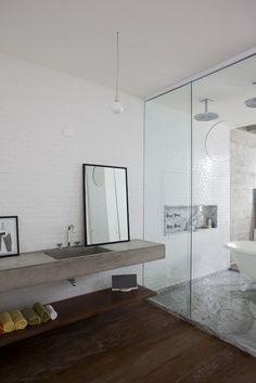 Concrete floating shelf.