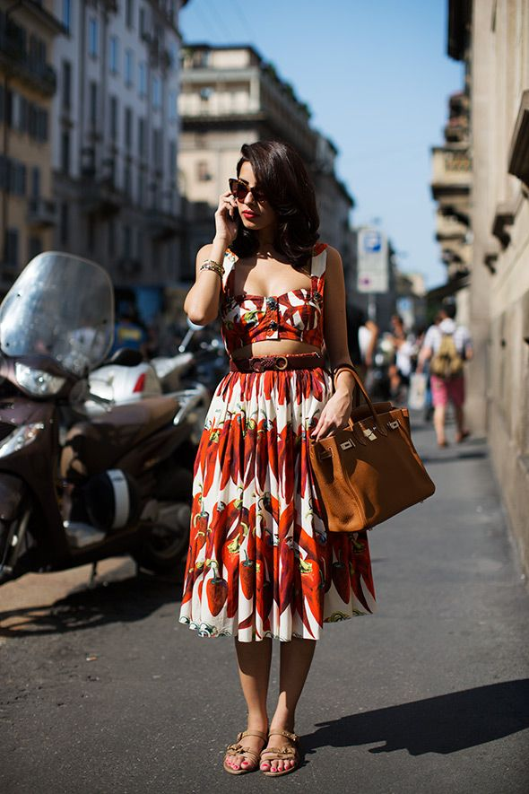 : Street Fashion, Summer Dresses, Summer Outfit, Italian Street Style, Crop Tops, Fashion Models, Chilis Peppers, The Sartorialist, Prints