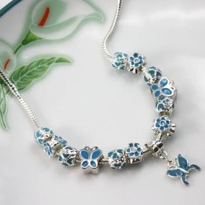 European Charms Necklace Butterfly and Flowers