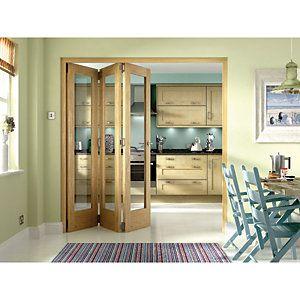 Wickes Ashton Internal Folding Door Oak Veneer Glazed 1 Lite 2047x1929mm