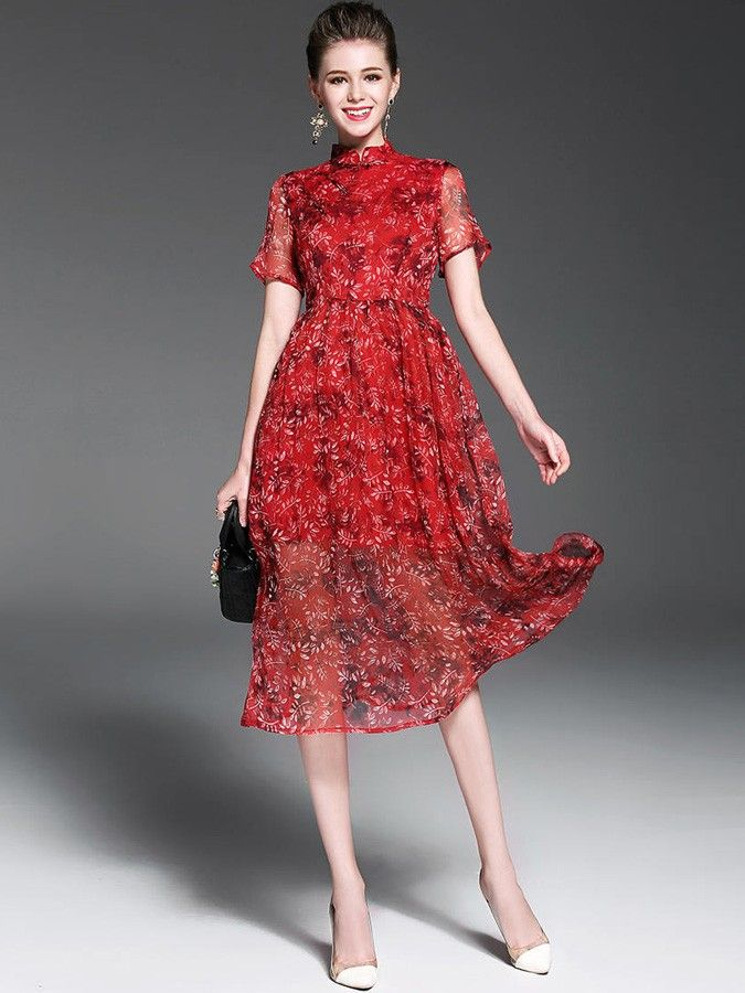 Red Floral Print Tea A-line Qipao / Cheongsam Dress