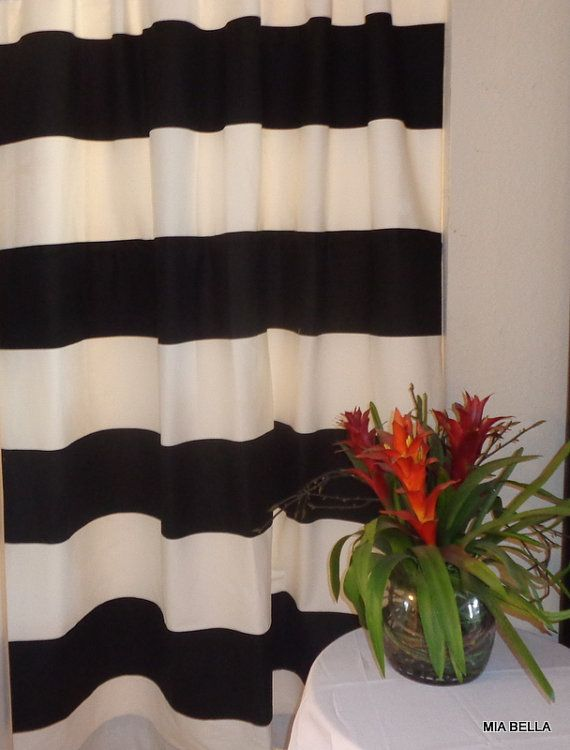 Kaitlyn Black White Wide Horizontal Stripe Curtains Two Lined Panels