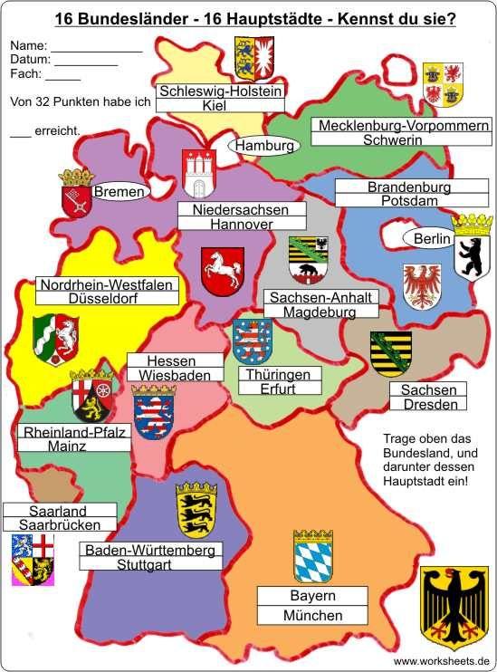 16 Bundesländer-16 Hauptstädte - 16 federal states of Germany