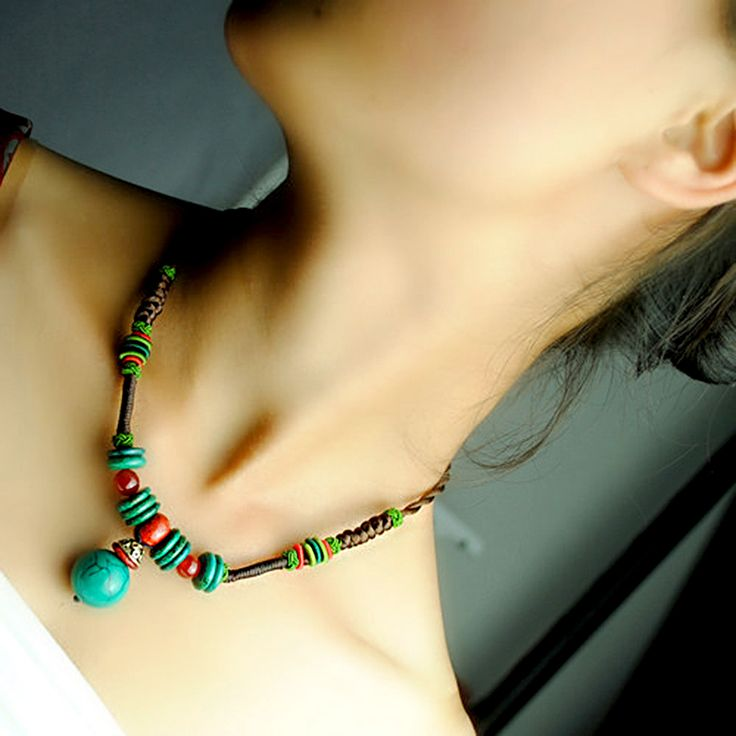 Original design choker necklace 47cm chain green turquoise pendant pineapple knot rope ethnic Handmade vintage jewelry