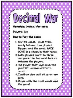 5 0 trainers uk FREE Decimal War Card Game   I would have to tweak this a little  since in 5th grade we study decimals to the millionth place value
