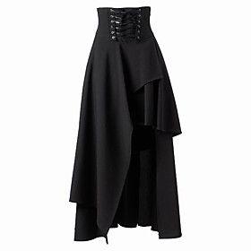 steam punk ladies skirt pattern   Tea-length Patched Black Cotton Steampunk Steampunk Long Skirt