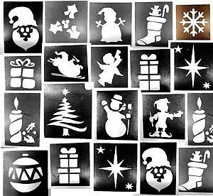 100x Christmas stencils assorted-3 part midi 4-7cms glitter tattoos facepainting | eBay