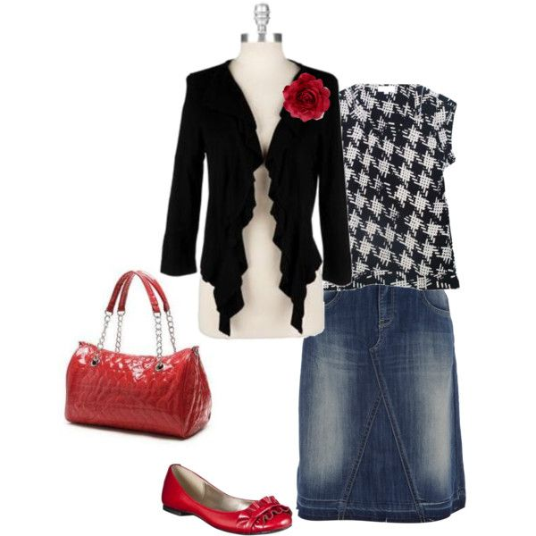 """houndstooth and red"" by foglemans on Polyvore"