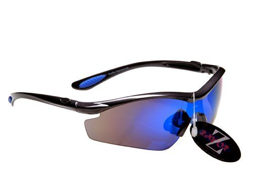 RayZor Professional Lightweight UV400 Dark Red Sports Wrap Golf Sunglasses, W.