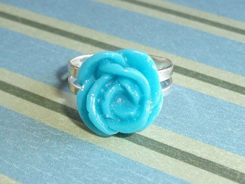 Turquoise Blue Rose Blossom Adjustable Ring, Flower Fun for your Finge | JanellDunlapJewelryDesigns - Jewelry on ArtFire