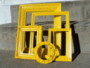sunny yellow picture frame set ornate - Yellow Picture Frames