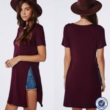 2015 new design casual split side t-shirt burgundy Best Buy follow this link http://shopingayo.space