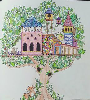 Enchanted forest colouring page