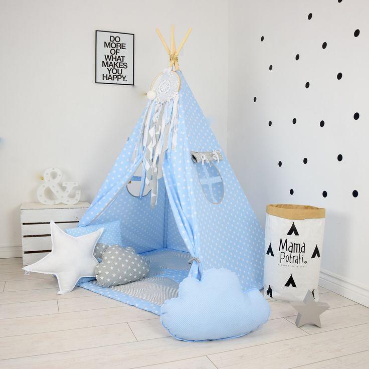Teepee Set Kids Play Teepee Tent Tipi Kid Playhouse Wigwam Zelt Tente- Baby Blue…