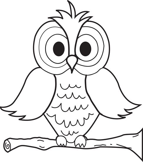 Cartoon Owl Coloring Page | Peighton | Owl coloring pages, Owl clip ...