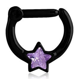 "The 16 gauge cz star septum clicker is made from blackline PVD coated 316L stainless steel. The 5/16"" long barbell is hinged on one side and snaps firmly shut on the other. The interior diameter is 5/"