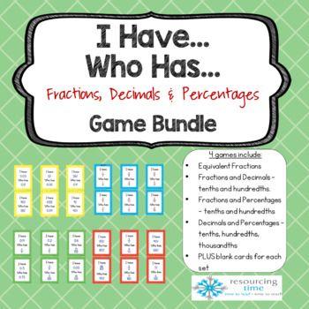 I Have...Who Has...game bundle - Fractions, Decimals, Percentages.