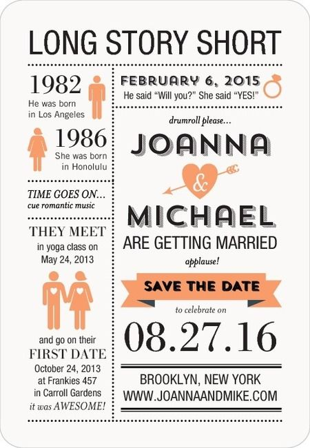 This infographic Save the Date magnet is a twist on the traditional Save the Date card. Share your love story from the day you met through your wedding date with this custom design. Browse more unique Save the Date ideas on www.weddingpaperdivas.com.