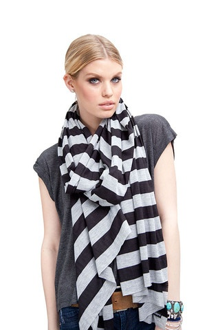 BLACK STRIPE OVERSIZED JERSEY WRAP