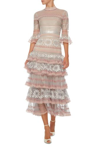 Sheer Ruffle Dress by TEMPERLEY LONDON Now Available on Moda Operandi, $3250, bottom tier removed