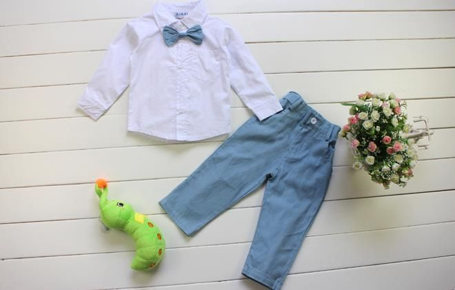 Boys Shirt with Bow Tie & Pants or Shirt & Shorts with Suspenders Set: 2 Styles!