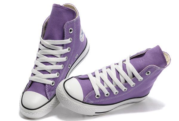 #converse Purple Converse High Tops Chuck Taylor All Star Canvas Shoes