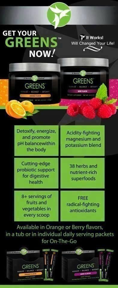 It works Greens! Can not be with out this product! Http://sfoster0523.myitworks.com