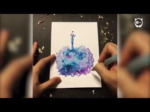 Artist Uses Water Drops And Paint To Create Spontaneous Dress Designs - YouTube