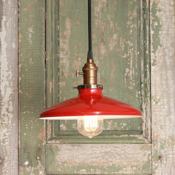 Pendant Light With Red Enamel Shade