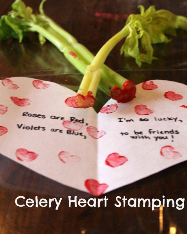 celery heart stamped valentines