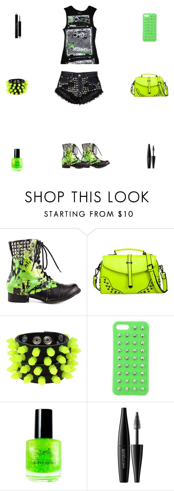"""""""Black & Neon Green Abbey Dawn Outfit"""" by billsacred ❤ liked on Polyvore featuring Abbey Dawn, Mia Bag, 4WE, MAKE UP FOR EVER and Christian Dior"""