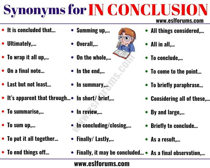 In Conclusion Synonym 30 Useful Synonyms For In Conclusion Esl Forums Writing Words English Vocabulary Synonym