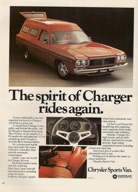 Australian Market Chrysler Sports Van, 1977   OH MY looks like a funky hearse