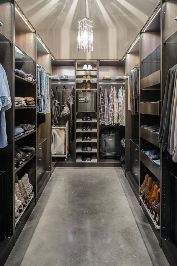 30 Walk-in Closet Ideas for Men Who Love Their Image (nice flooring...cement screeding..)